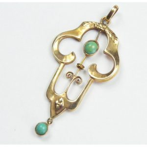 Art Nouveau Turquoise Pendant 9ct Gold