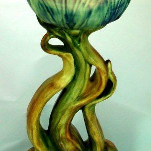 weller flemish figural tulip vase and frog