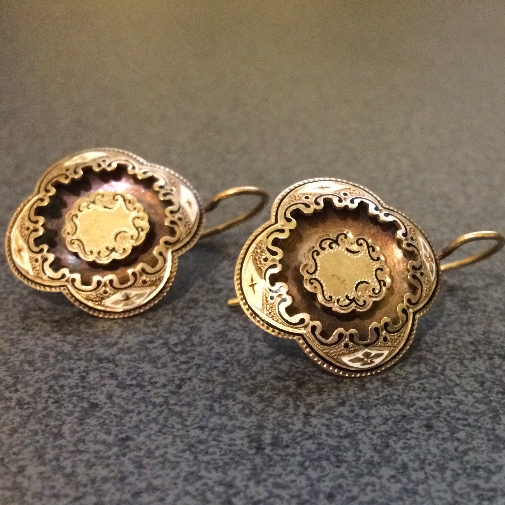 dsf jewelry co tiffany earrings gold antique enamel