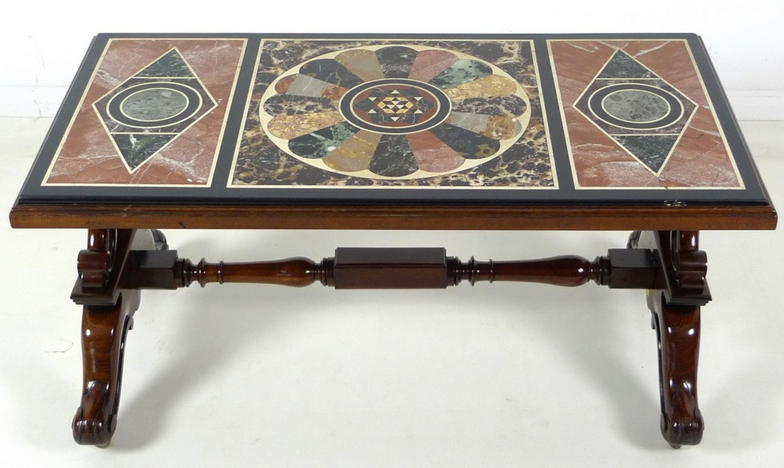 Antique Marble Pietra Dura Table Top On A Later Mahogany Victorian Style Coffee Table Base