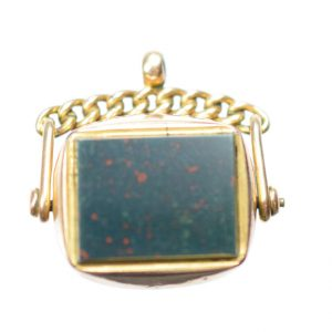 1886 Rectangular Gold Spinner Fob
