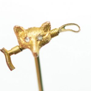 Antique Gold Fox Stick Pin Diamond Eyes