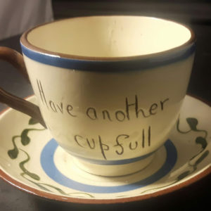 Motto ware cup and saucer 2