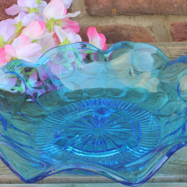 Blue Pressed Glass Footed Sandwich Plate