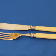 Decorated Chromium Plated Set of Bone Handled Fish Knives and Forks 5