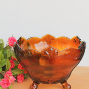 Art Nouveau Tobacco Glass Palm Bowl 1