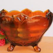 Art Nouveau Tobacco Glass Palm Bowl 2